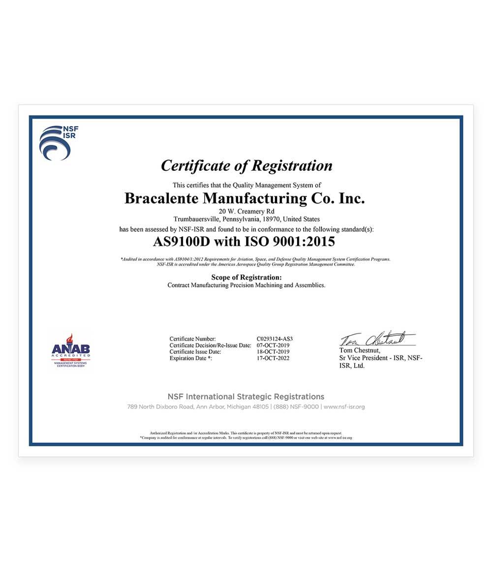 Bracalente C0293124-AS3 Certificate